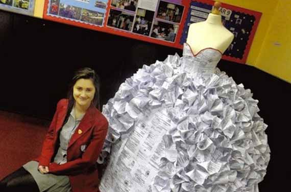 wedding dress made out of divorse papers herbeat